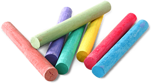 Seven pieces of colored chalk: pink, light green, puple, aqua green, yellow, red, royal blue
